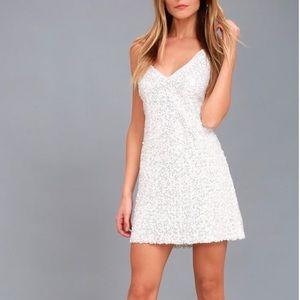 LuLus white sequin backless dress